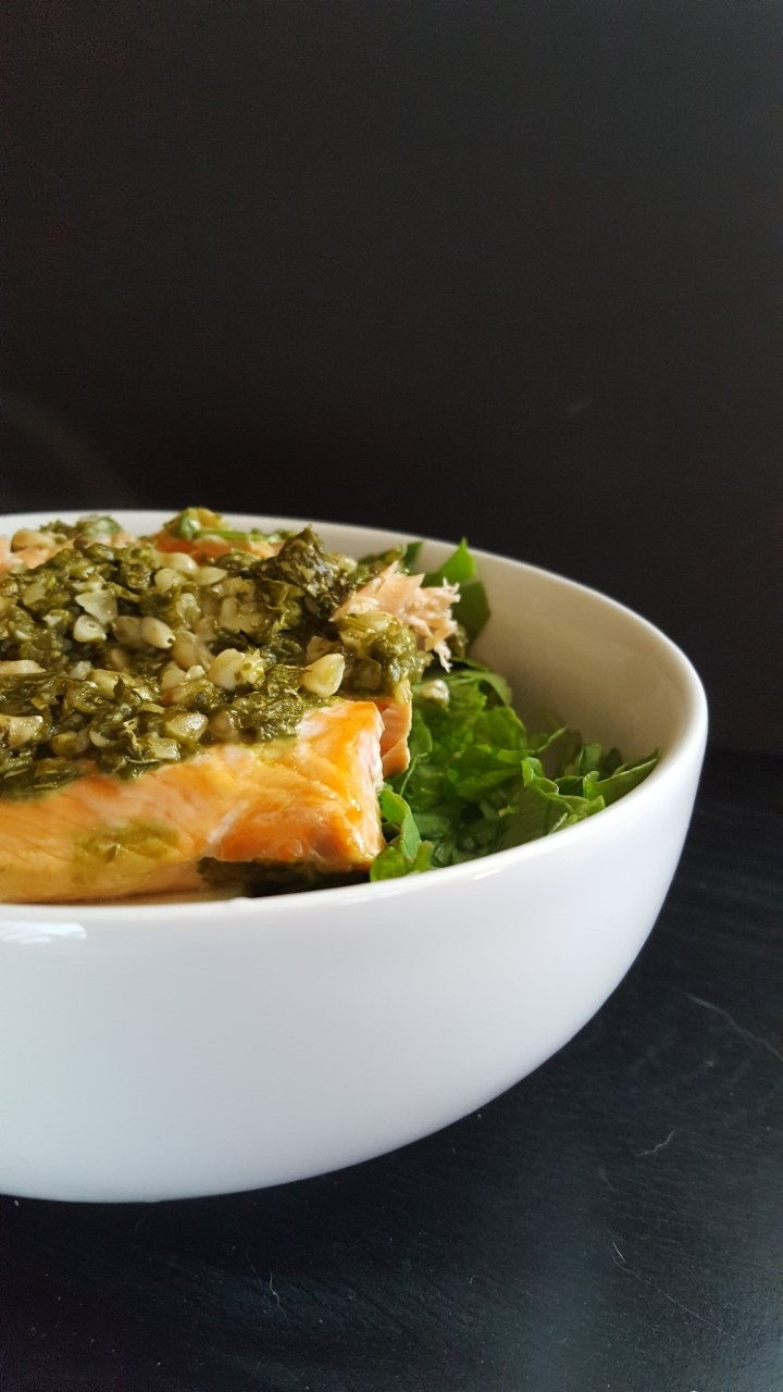 arugula pesto salmon salad
