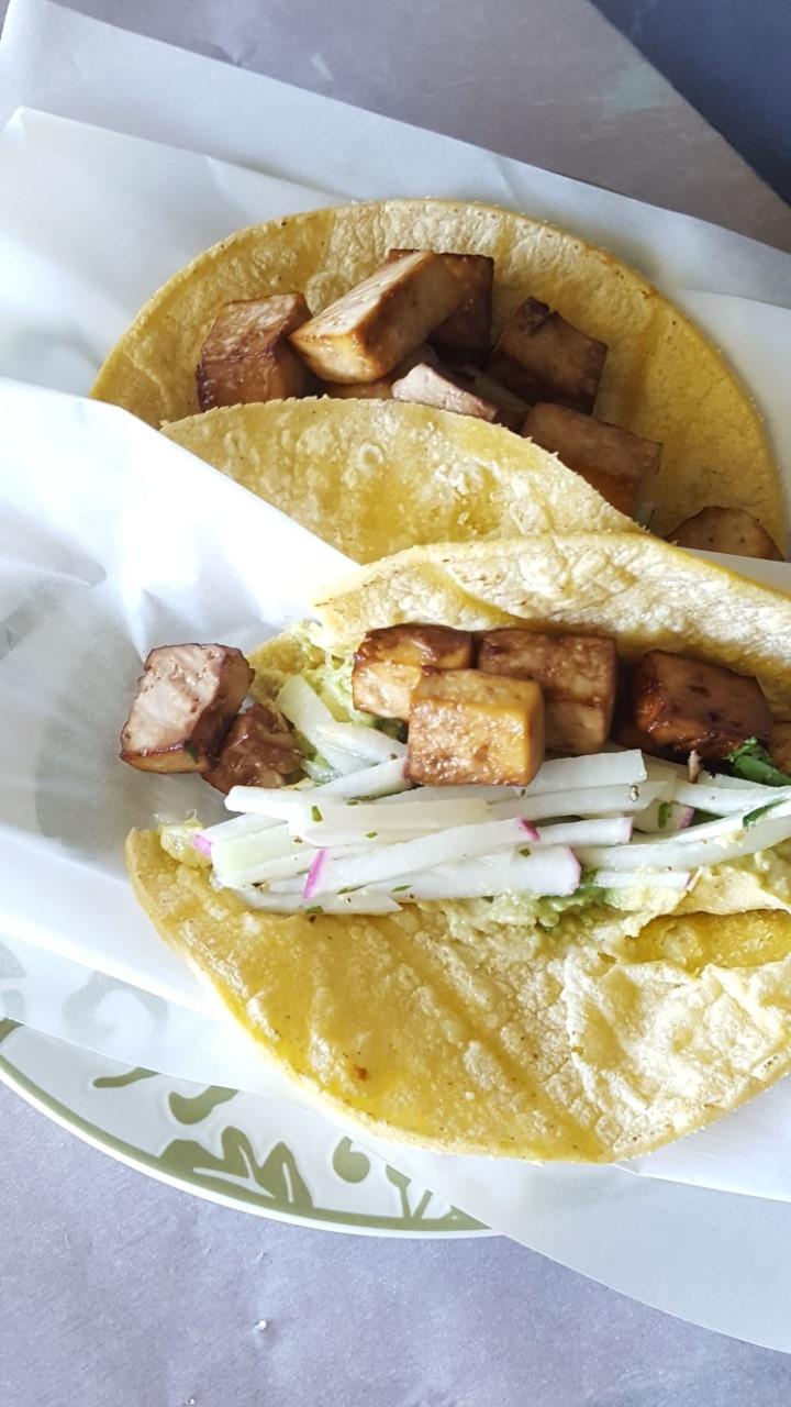 baked tofu tacos with kohlrabi coleslaw