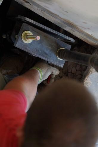 crew installing push pier