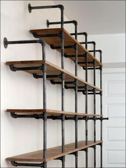 do it yourself cast iron pipe shelving fixtures close up. Black Bedroom Furniture Sets. Home Design Ideas