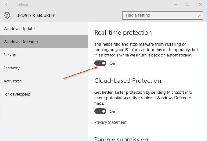 Disable Windows Defender Real Time Protection on Windows 10