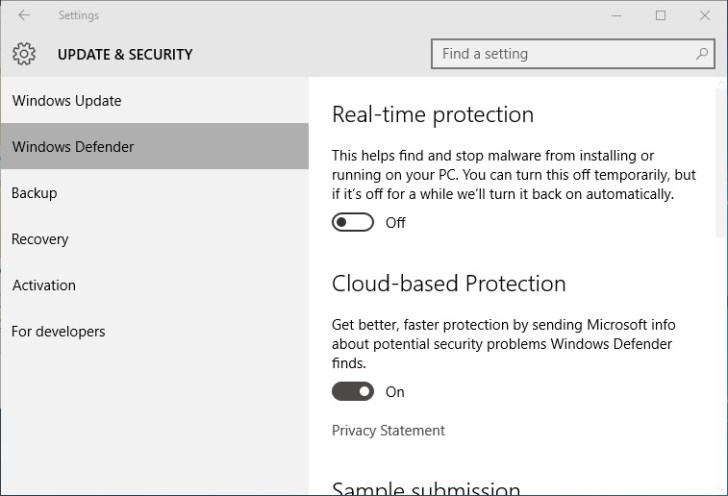 off the Real-time protection
