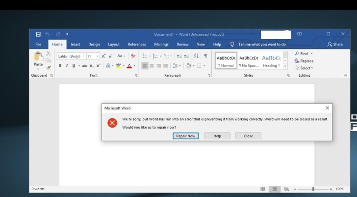 How to Fix Microsoft Word 2016 Error