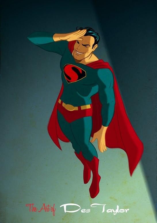 superhero retro art
