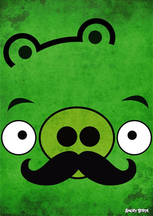 angry birds mustache