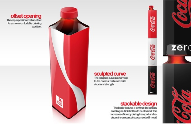 What's the Square Root of Sustainability? This Coke Bottle BY ALISSA WALKER | 03-30-2010 | 10:13 AM It's pretty ballsy to redesign one of the planet's most iconic shapes and completely blow it out of the water. Last we checked, Coke's bottles were some of the most recognizable objects on earth, and so powerful when it came to branding that in 2008, Coke transformed the capsule-like two-liter bottle into the same sexy curves. But dare we say design student Andrew Kim has created a concept that's equally powerful, all in the name of sustainability. Kim has taken inspiration from companies like Fiji, whose squared-off bottles use shipping space more efficiently, but he also creates the ability for these bottles to be nested, saving space both horizontally and vertically. He also proposes a collapsible, accordion-like action for the bottles after they're used, saving space when being transported to the recycling center. He does have a point: Those curvy bottles don't flatten so well, adding bulk in the blue bin. Although we probably won't ever say goodbye to Coke's cute little waist-and-hips of its traditional package design, this isn't a bad idea for any of Coke's other brands, especially something like its bottled water. And seeing as Coke has placed sustainability at the top of its agenda...David Butler, are you listening? (2)