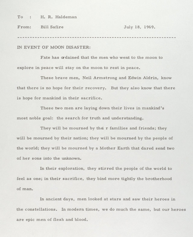 The Presidential Speech if 1969 moon landing have failed (2)
