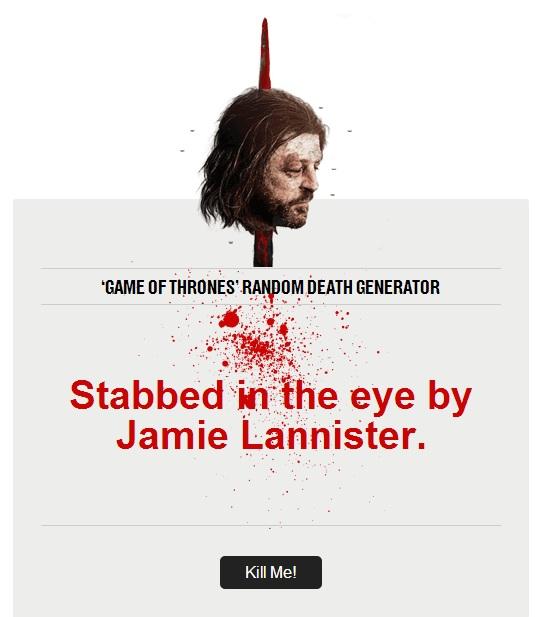 Game Of Thrones Death generator