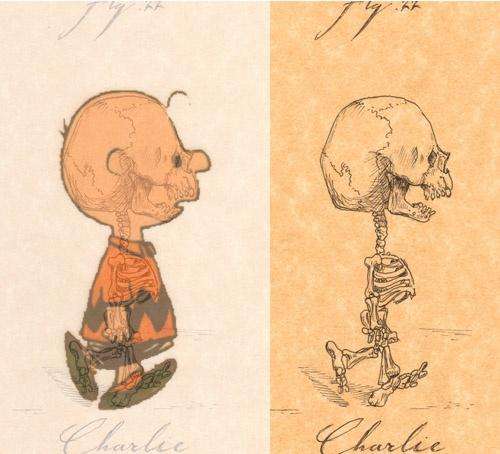 Cartoon Characters As Skeletons