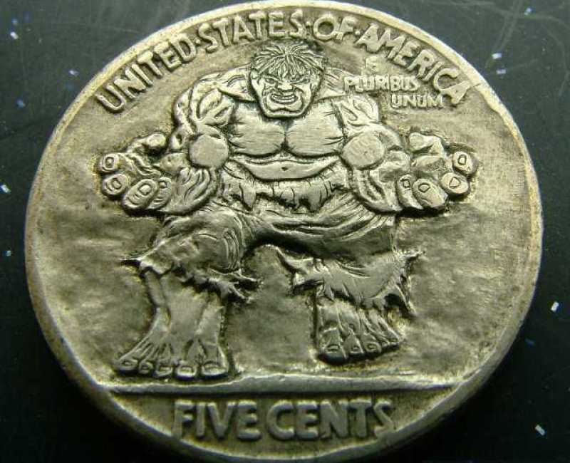 Nickel Carved With Raging Hulk
