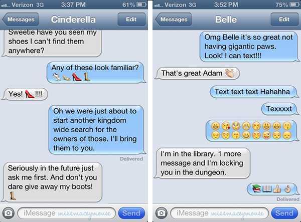 When Disney Princesses Text