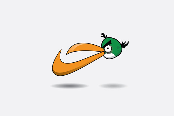 Angry Birds as famous logos
