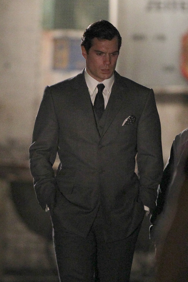 Henry Cavill on The Man From U.N.C.L.E. Set Photos