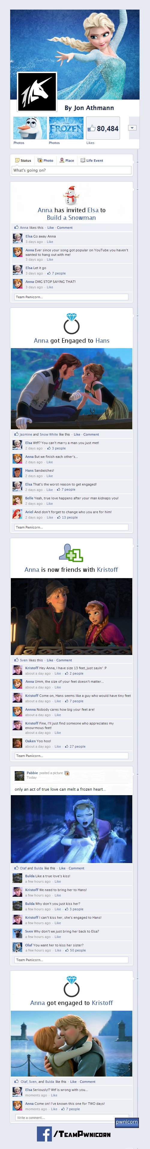 What if the Characters from Frozen Were on Facebook?