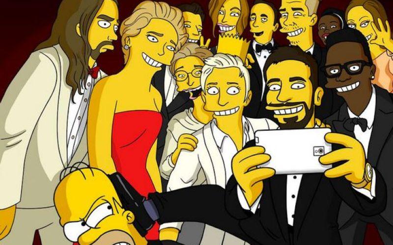 The Simpsons recreate Ellen's Oscar selfie