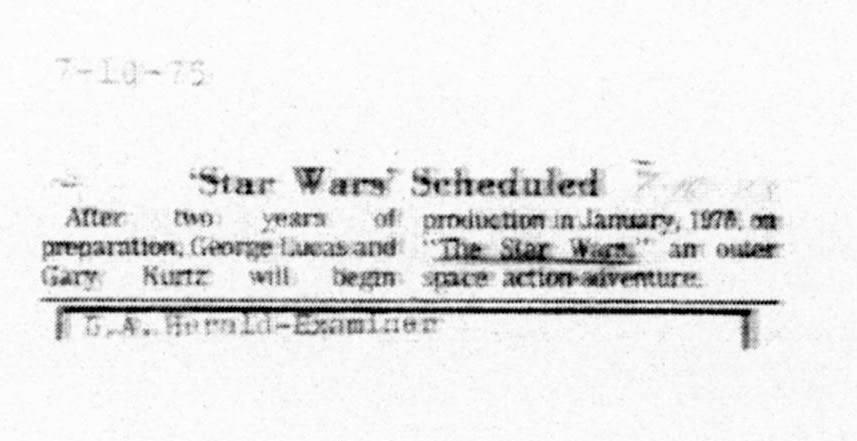 Original 1975 STAR WARS Announcement