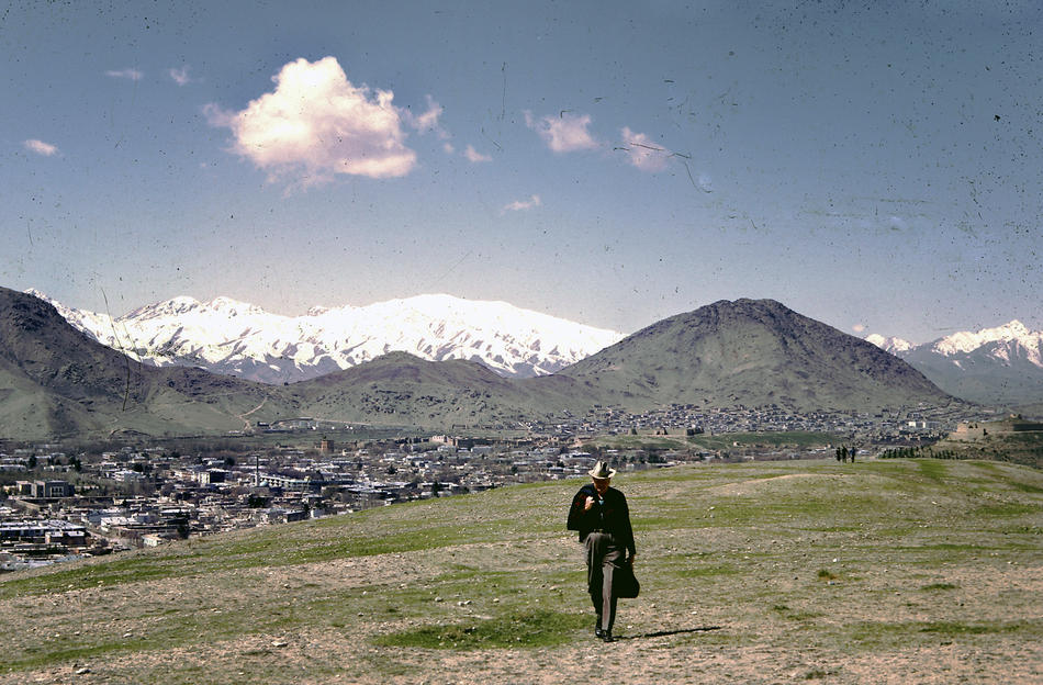 Dr. Bill Podlich on a hillside in Kabul.