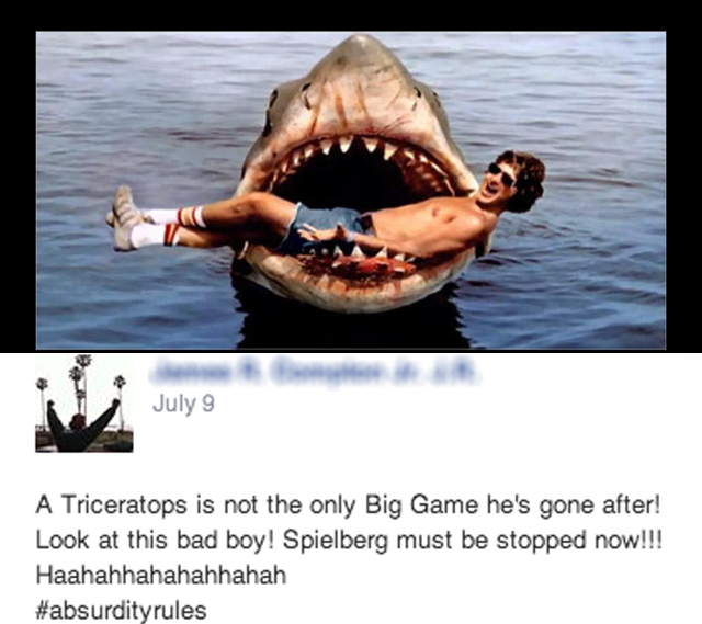 Facebook Sparks Outrage Over Steven Spielberg Poaching A Triceratops