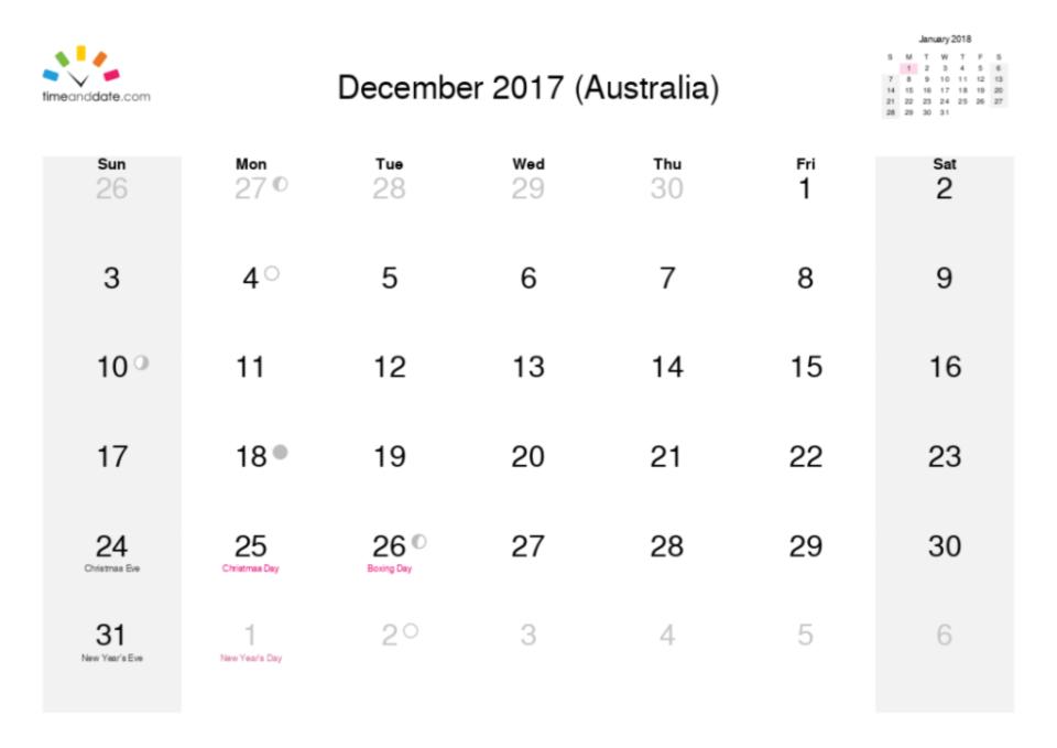 december calendar month 2017