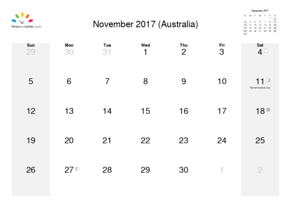 november calendar month 2017
