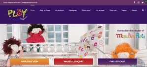 play imports website with coquettes graphics and graphic buttons