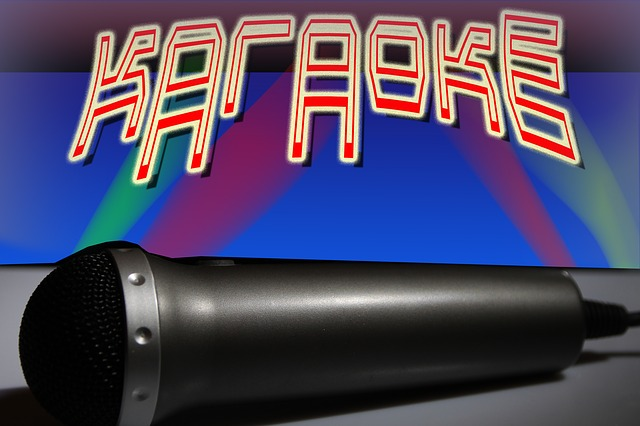 Karaoke text with microphone