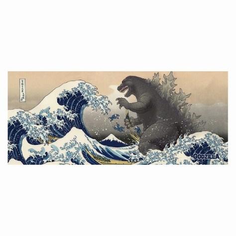 フェイスタオル 富嶽三十六景大怪獣ノ図 ゴジラ・ストア   GODZILLA STORE HPから引用