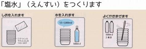 次に別容器で塩水を作り、よく撹拌させる。  手作り醤油キット 湯浅醤油・金山寺味噌・ポン酢・紀州の梅干の製造・販売、丸新本家HPから引用