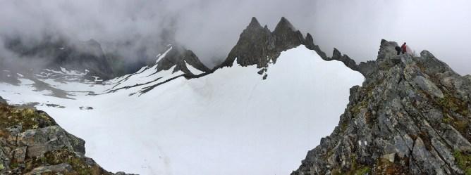 The glacier below