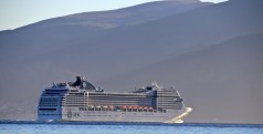Cruise ship passing Sulesund