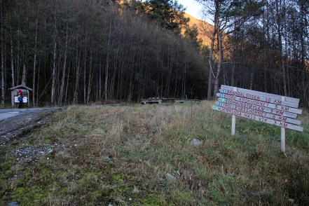 Signposts at the start of the forest road