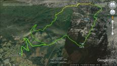 The route, green = on bike, yellow = on foot