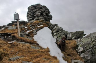 Behind the summit cairn