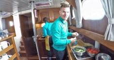 Jukka helps in the kitchen