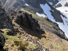 Above the steep gully