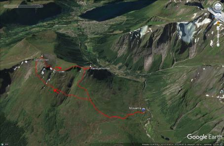 Our route across Sandhornet