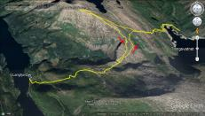 Today's route, incl. attempt of Tettingfjellet