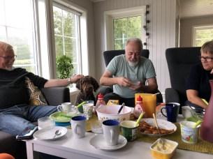Enjoying our stay at Saus with Arnfinn (Jorun's husband), Arne (Jorun's brother) and Jorun
