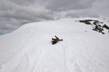 On the ridge - windpacked snow