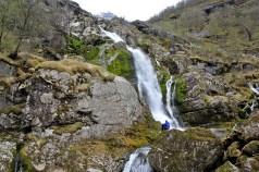 Below the waterfall