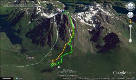 The route. Green route is ascent