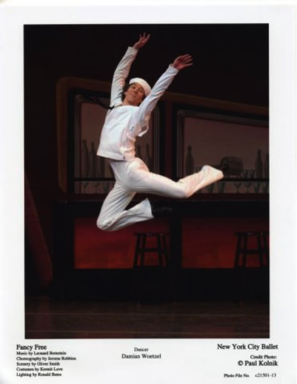 "Damian Woetzel in ""Fancy Free."" Photograph by Paul Kolnik"