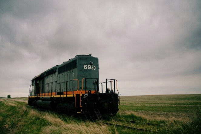 A locomotive outside the town of Leader, SK.