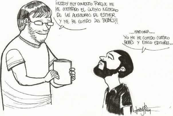 Duelo de escritores: J.Esteban contra F.J. Pérez (dibujo de Ernesto Rodríguez)