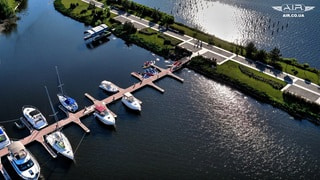 Drone took a photo of yachts from the air