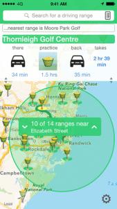 iGo2Range nearby Australian golf practice driving range directory app