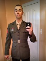 Pistolis in his Marine Corps dress uniform. He posted this selfie to his Facebook page.
