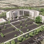 AdventHealth Palm Coast's new hospital on Palm Coast Parkway, in a rendering.