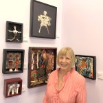 Jan Jackson, the Gargiulo Art Foundation's Flagler County Artist of the Year for 2020, stands among some of her bone-infused works at Galleria d'Arte. (© FlaglerLive)