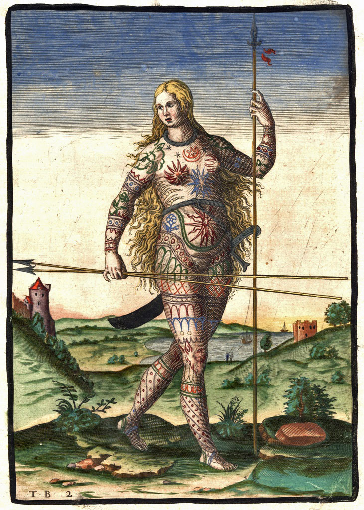 The Picts, the indigenous people of what is today northern Scotland, were documented by Roman historians as having complex tattoos. Theodor de Bry, via Wikimedia Commons